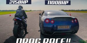 DRAG RACE!! TUNED YAMAHA R1 vs 1100BHP NISSAN GTR