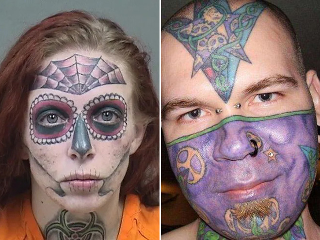 Bad face tattoos are tragic and hilarious.
