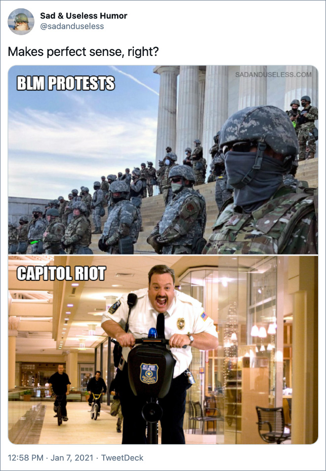 Funny reaction to Capitol riot.