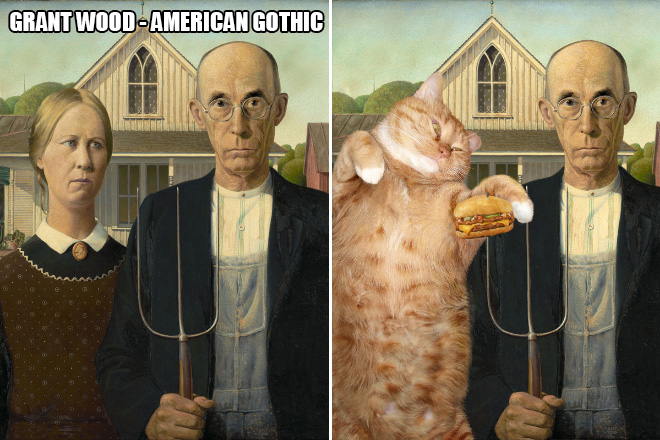 Painting improved with a fat ginger cat.