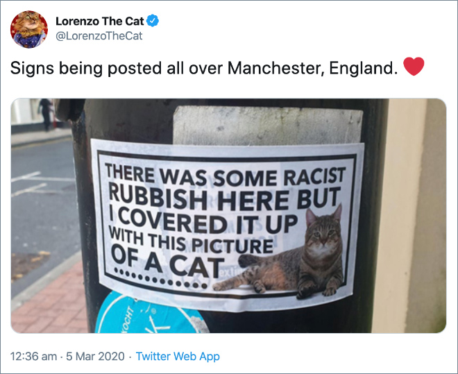 Signs being posted all over Manchester, England.