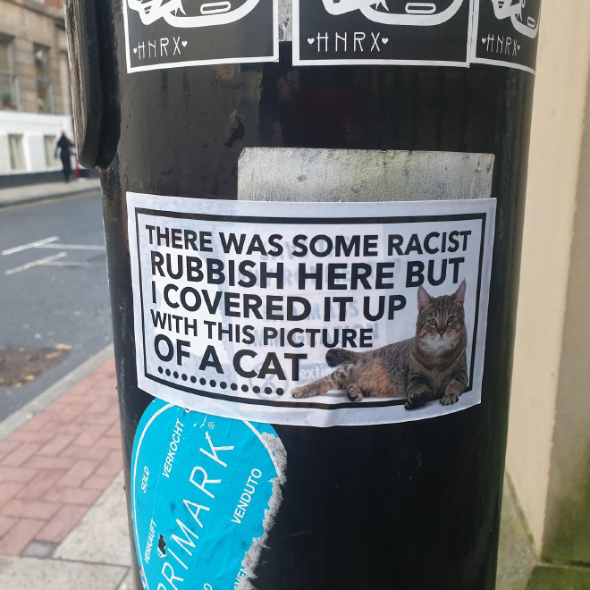 Funny way to keep fighting racism.