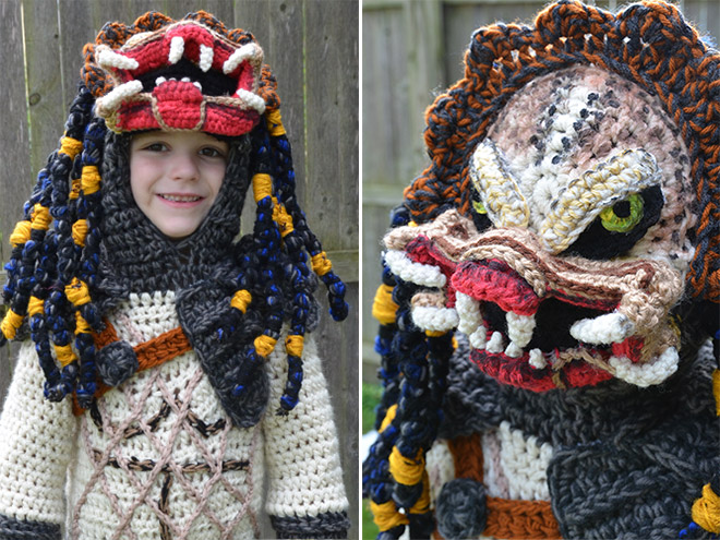 Awesome crocheted halloween costume.