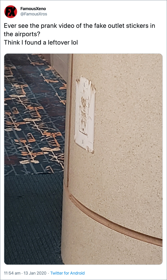 Ever see the prank video of the fake outlet stickers in the airports?