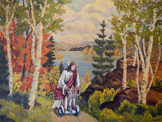 Pop culture characters added to thrift store paintings.