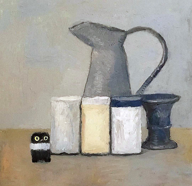 Cat hidden in a painting.