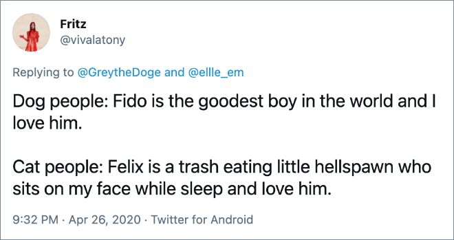 Dog people: Fido is the goodest boy in the world and I love him. Cat people: Felix is a trash eating little hellspawn who sits on my face while sleep and Iove him.