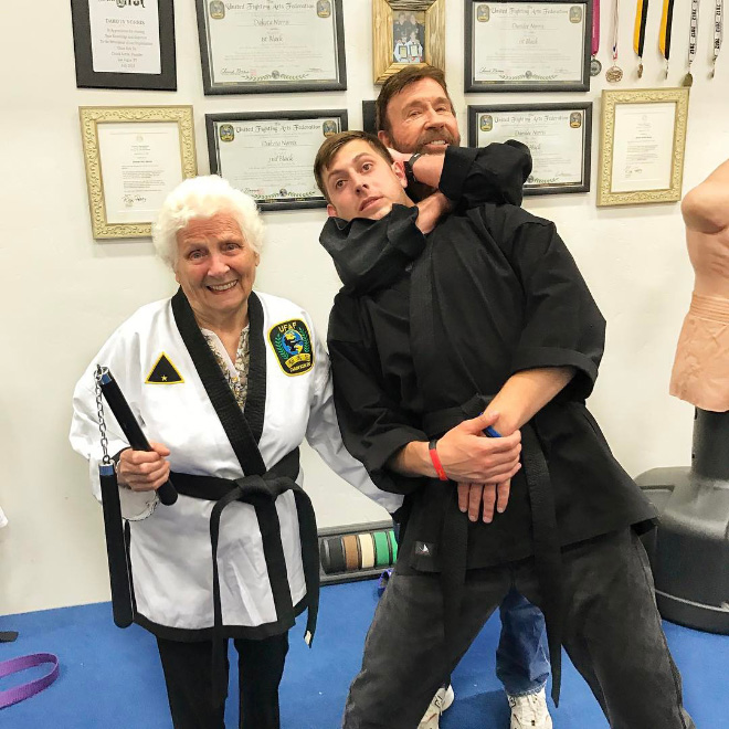 Funny grandson and granny duo picture.