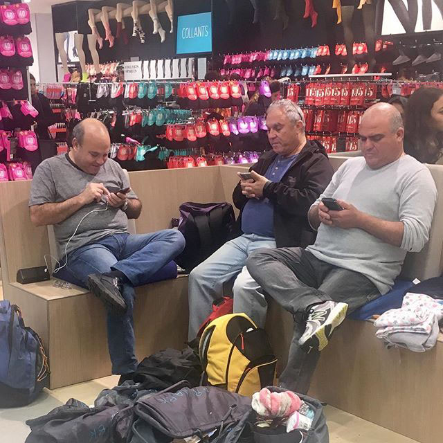 miserable men shopping with ladies