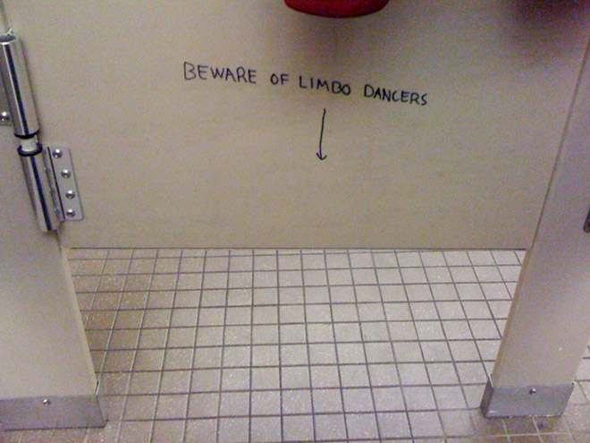 Funny toilet graffiti.