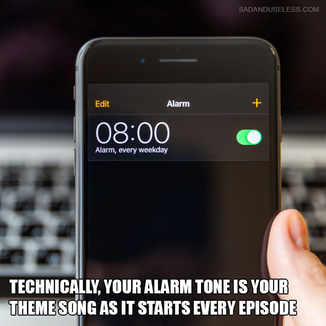 Technically, your alarm tone is your theme song as it starts every episode.