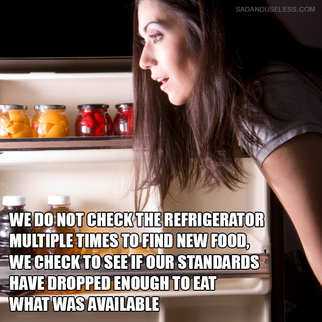 We do not check the refrigerator multiple times to find new food, we check to see if our standards have dropped enough to eat what was available.