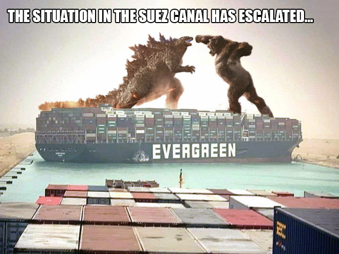 Funny take at the Suez Canal crisis.