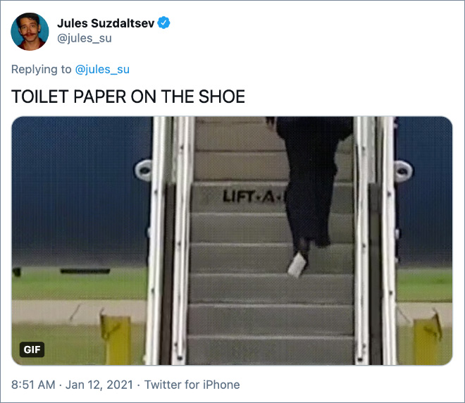 TOILET PAPER ON THE SHOE