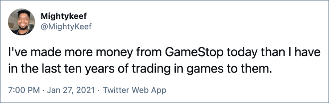 I've made more money from GameStop today than I have in the last ten years of trading in games to them.